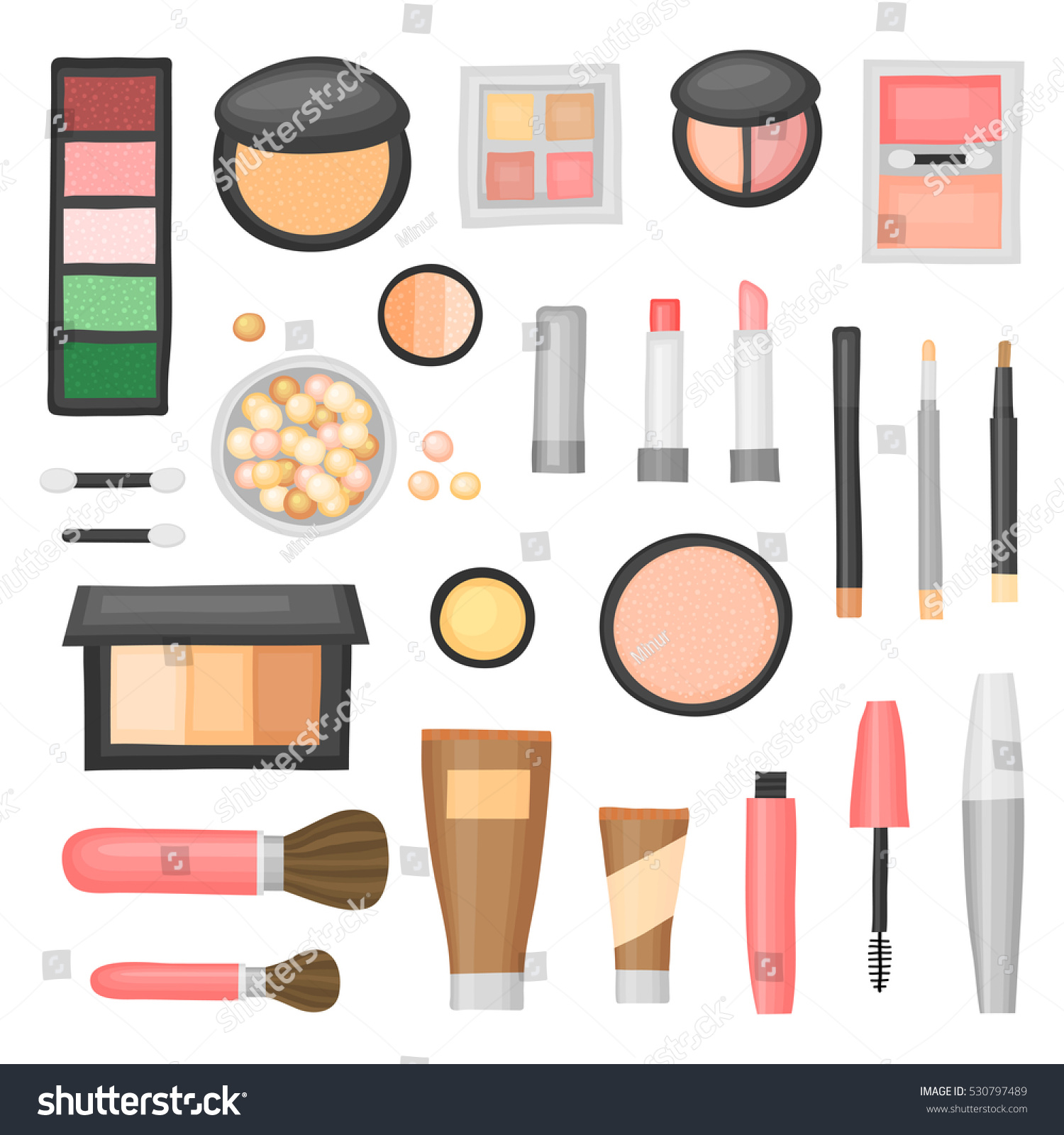 Cartoon Collection Decorative Cosmetics Different Beauty Stock Vector Royalty Free 530797489