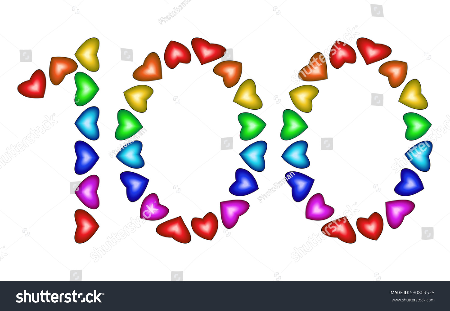 Number 100 Colorful Hearts On White Stock Illustration 530809528