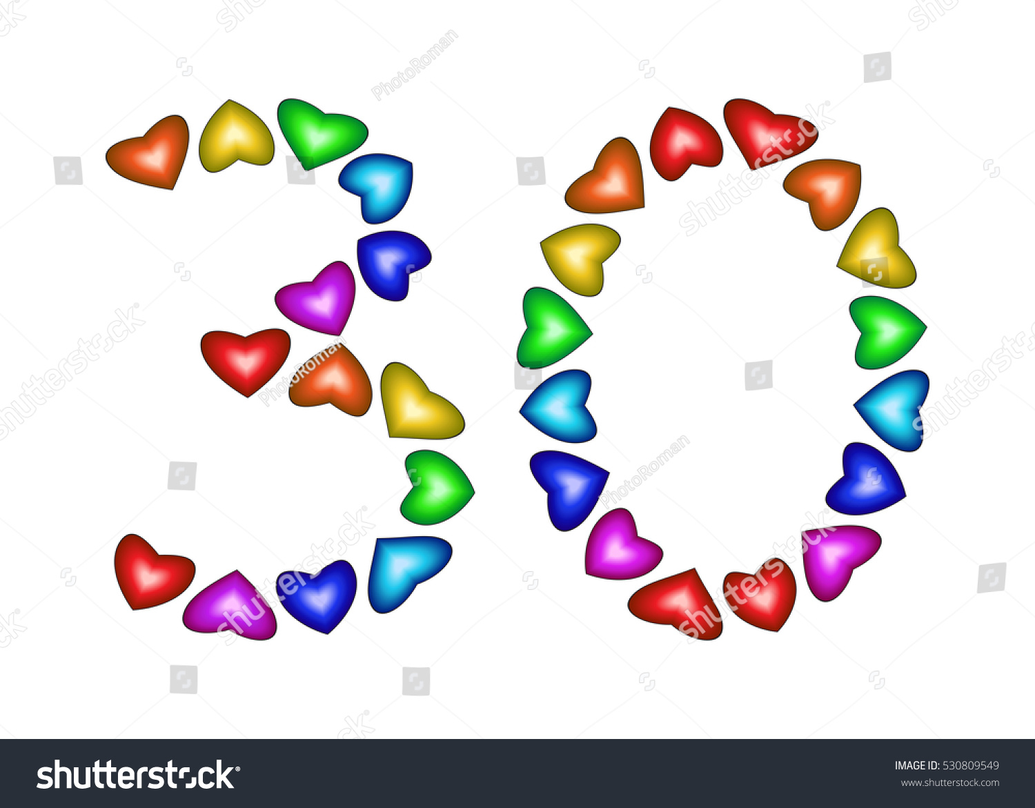 Number 30 Colorful Hearts On White Stock Illustration 530809549