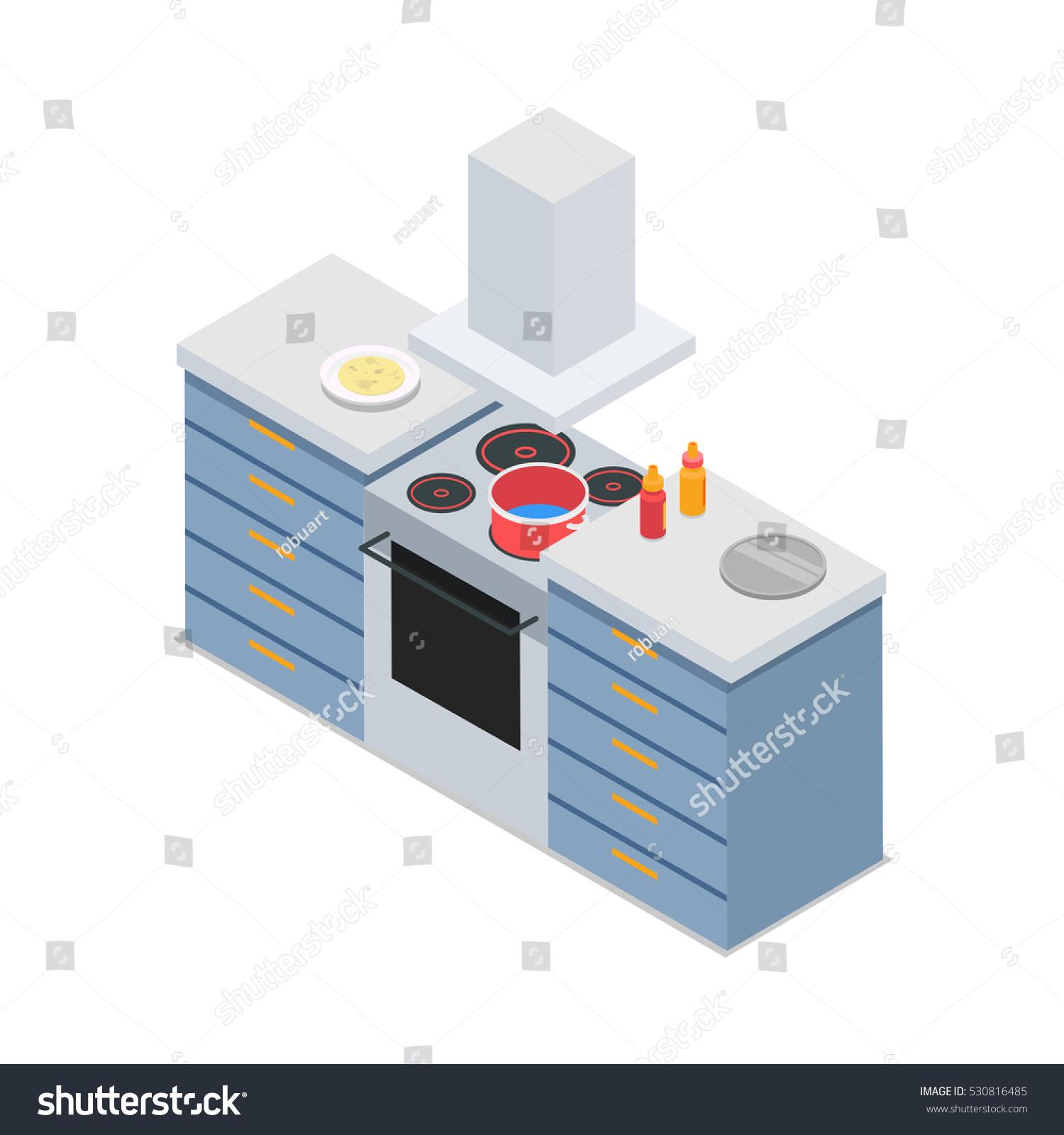 Fourburners Cooker Isolated Restaurant Kitchen Isometric Stock Photo ...
