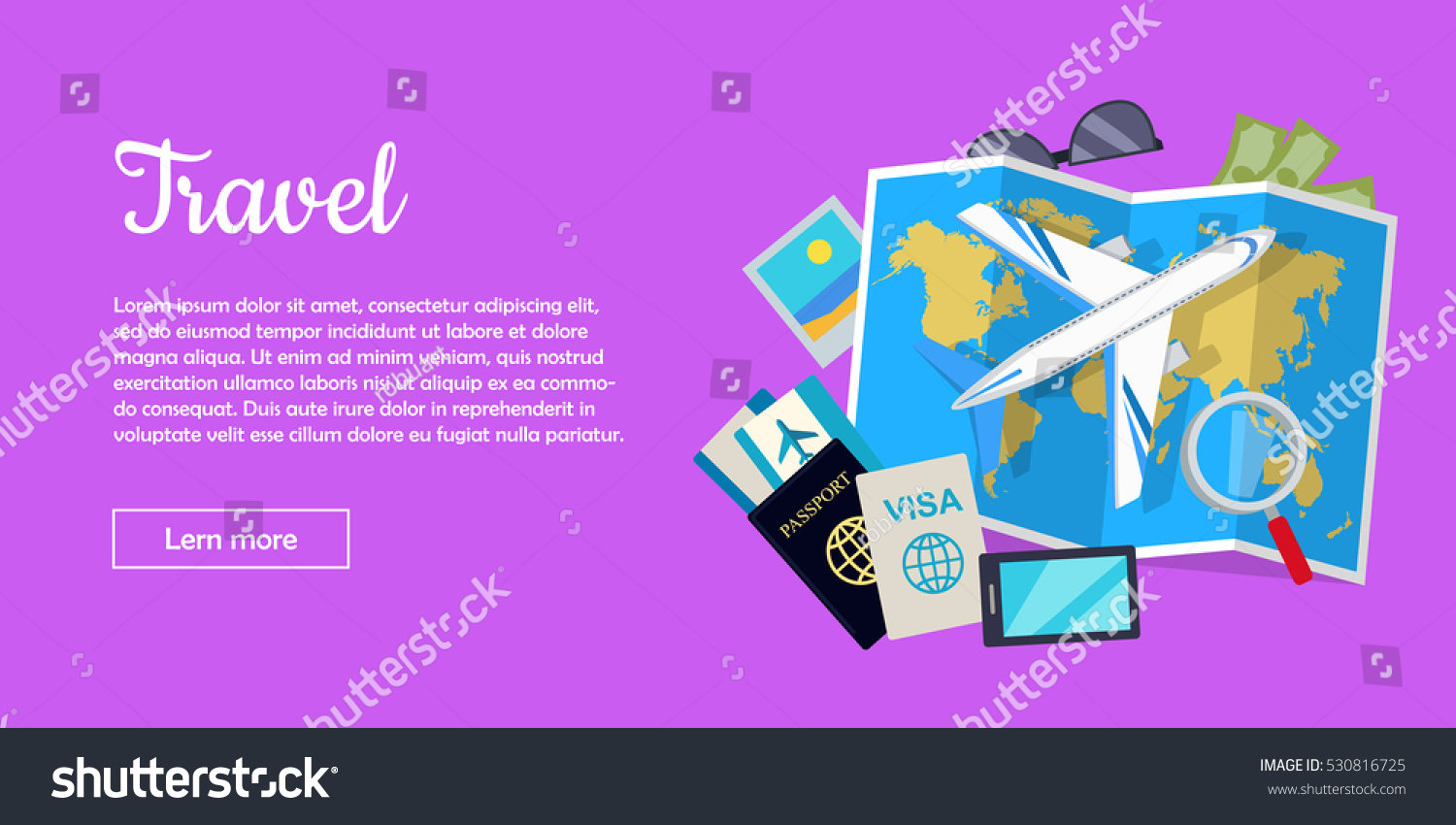 Travel web banner aircraft suitcase luggage stock vector 530816725 aircraft suitcase with luggage world map air tickets gumiabroncs Images