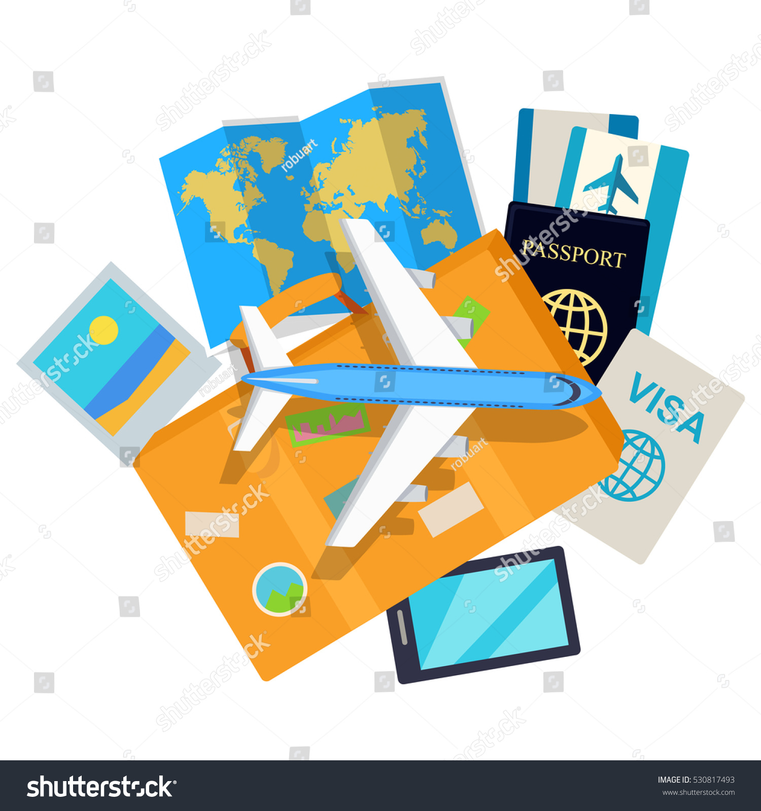 Journey web banner aircraft suitcase luggage vectores en stock aircraft suitcase with luggage world map air tickets gumiabroncs Gallery