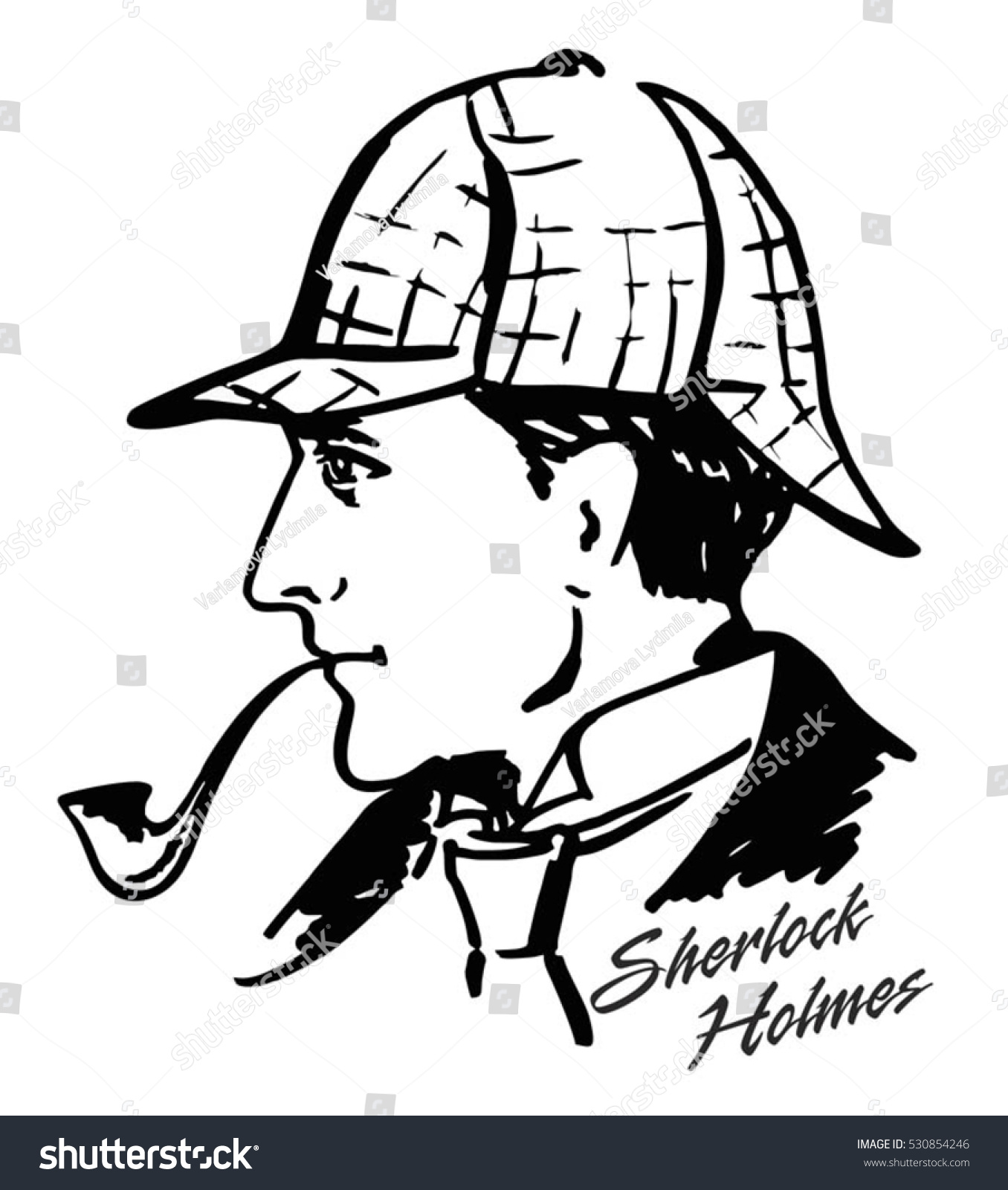 detective illustration illustration with sherlock holmes english detective ink drawing