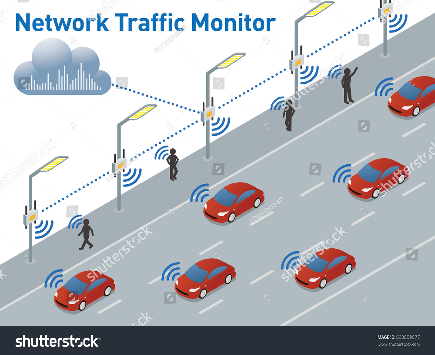 Network Traffic Monitoring System Diagram Detecting Stock Vector Fire Engines Cone Vehicles And Pedestrians By Sensor Wireless Communication