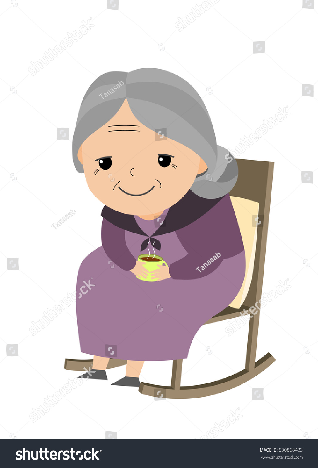 Old Lady Sitting Her Rocking Chair Stock Vector 530868433
