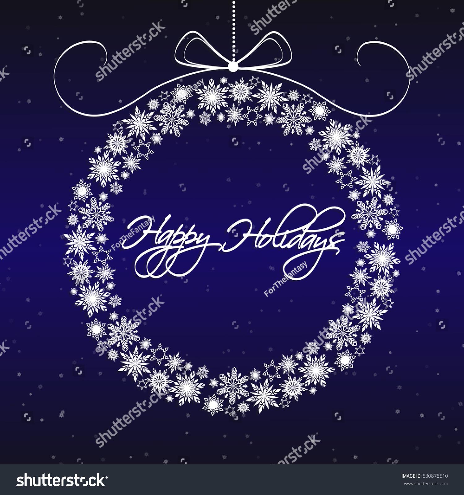 Snowflakes Wreath Merry Christmas Happy New Stock Vector Royalty