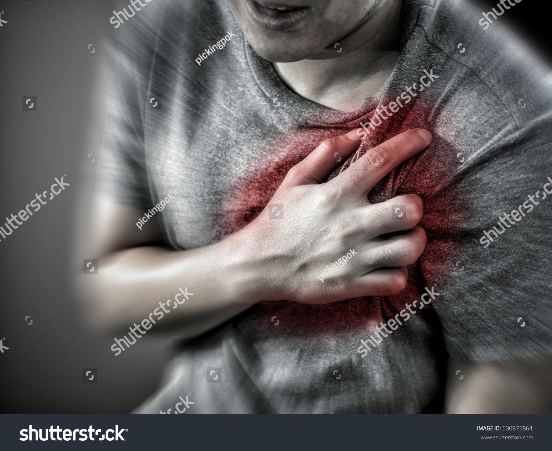 Severe Heartache Man Suffering Chest Pain Stock Photo -1768
