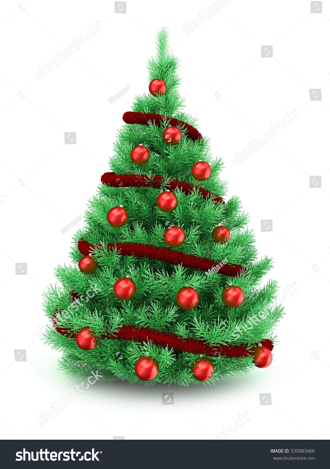 D illustration of christmas tree over white background