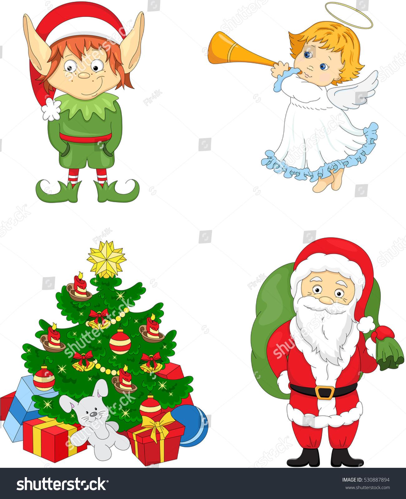 Colorful christmas elf santa angel tree stock illustration