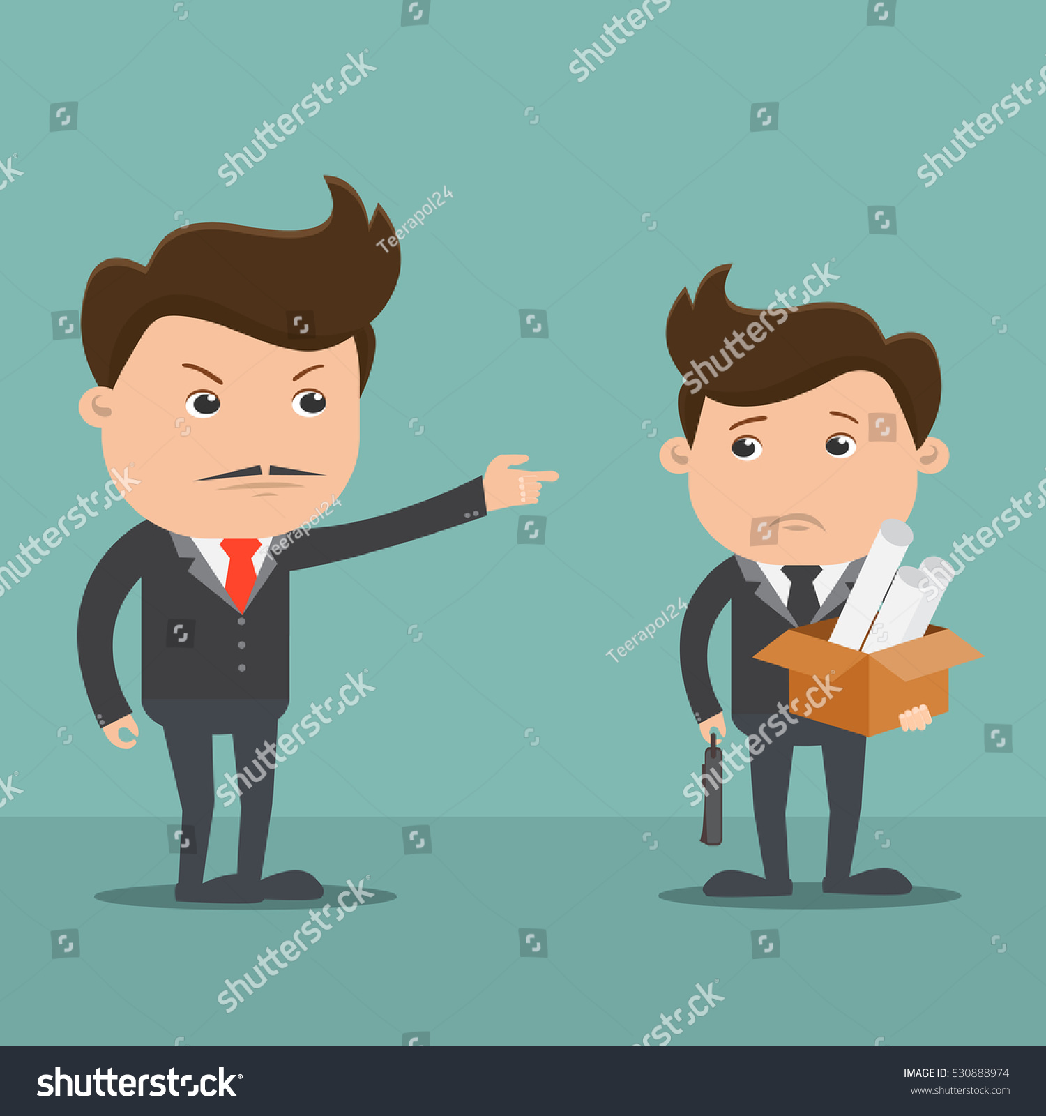 employees getting fired by boss vector stock vector  employees getting fired by boss vector illustration