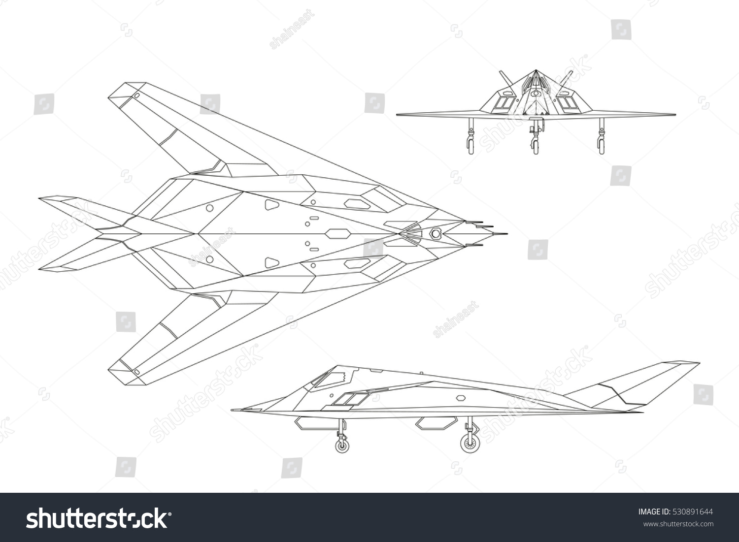Contour Drawing Of War Plane Airplane Views Top Side