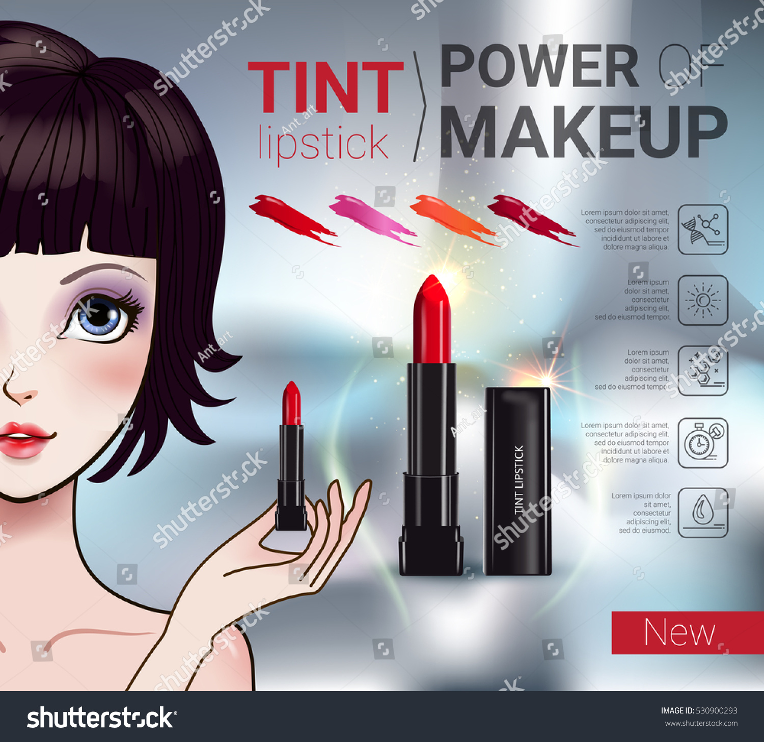 0d8d9e5e19a Vector Illustration with Manga style girl and makeup lipstick product.