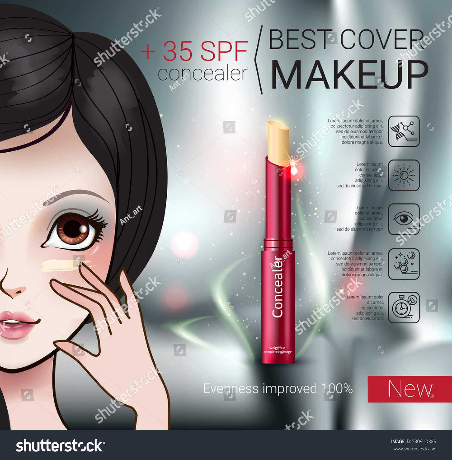 a59b169a106 Concealer Stick Ads Vector Illustration Manga Stock Vector (Royalty ...