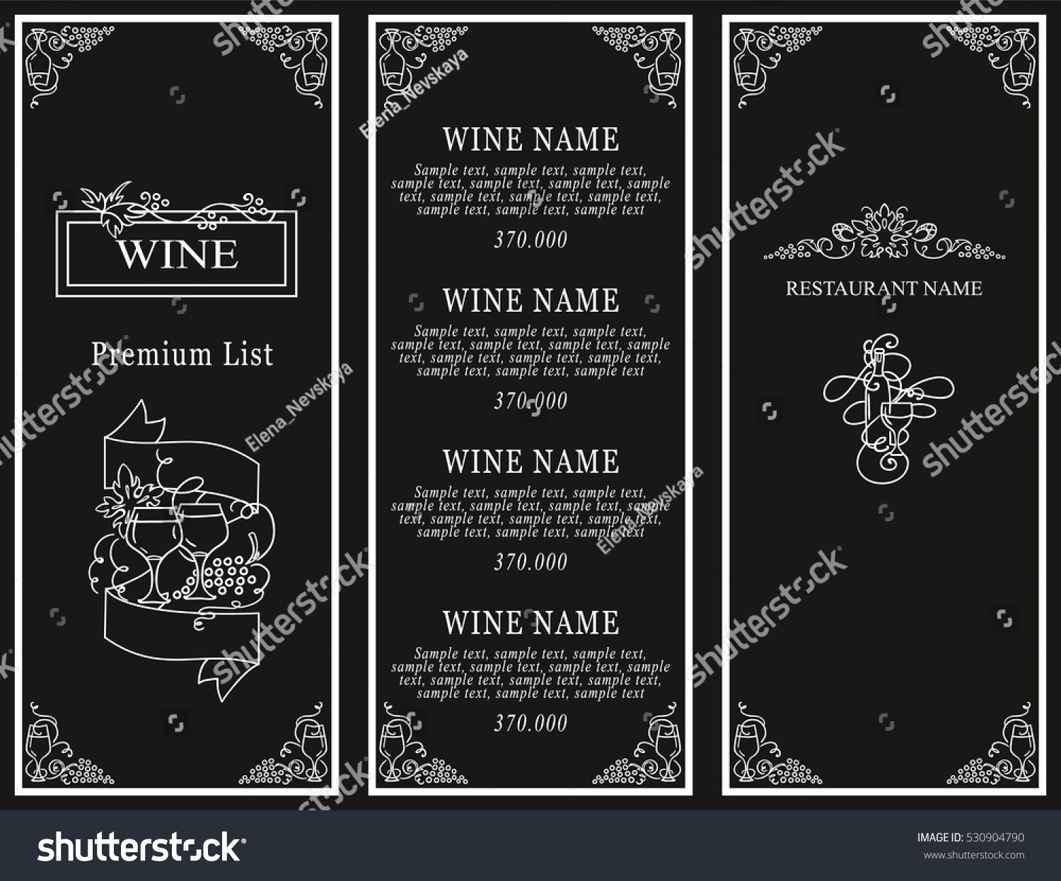 Vintage Design Of Restaurant Menu. Wine List Or Card Collection, Cover And  Page For