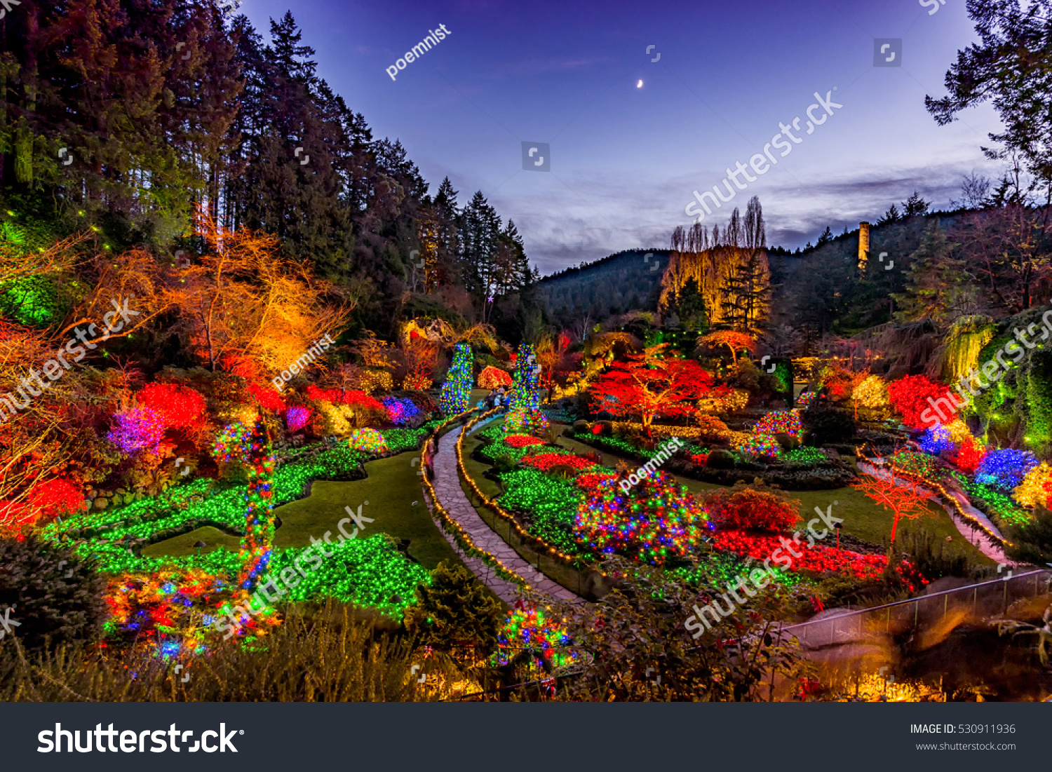 Christmas Wonderland Butchart Gardens Series Wonderful Stock Photo ...