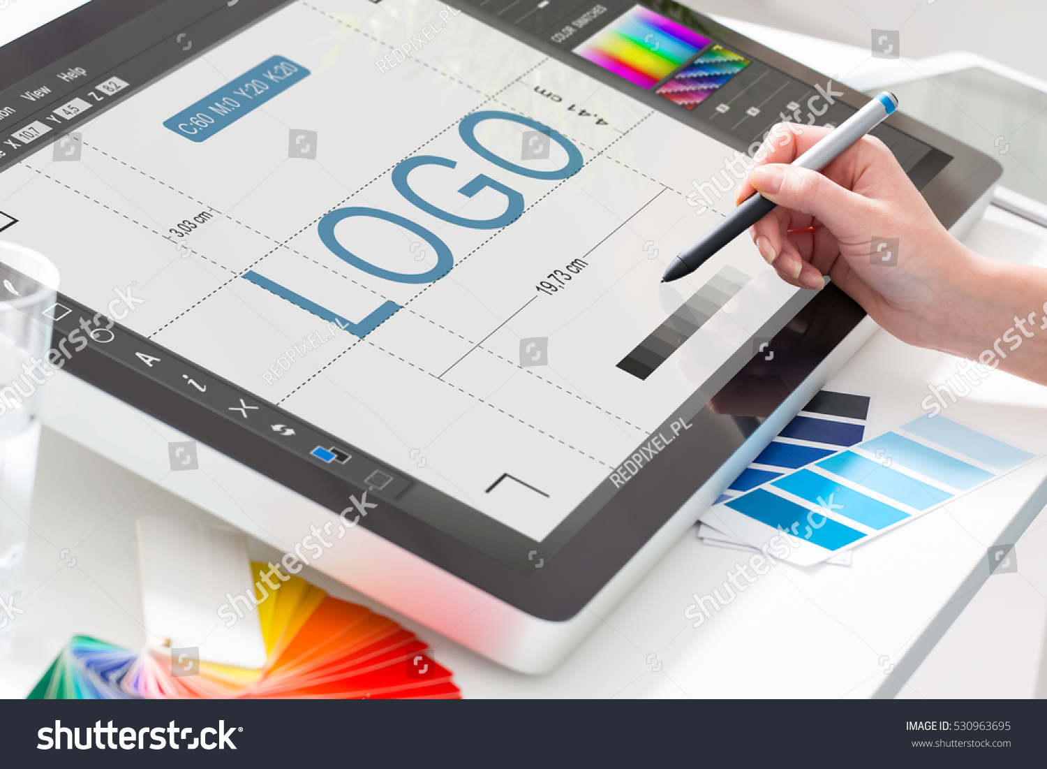 Logo design brand designer sketch graphic stock photo Create a blueprint online