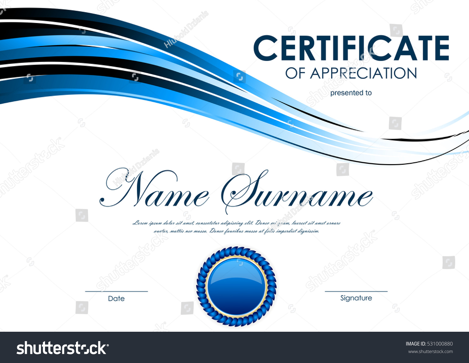 Certificate Appreciation Template Blue Bright Curve Stock Vector