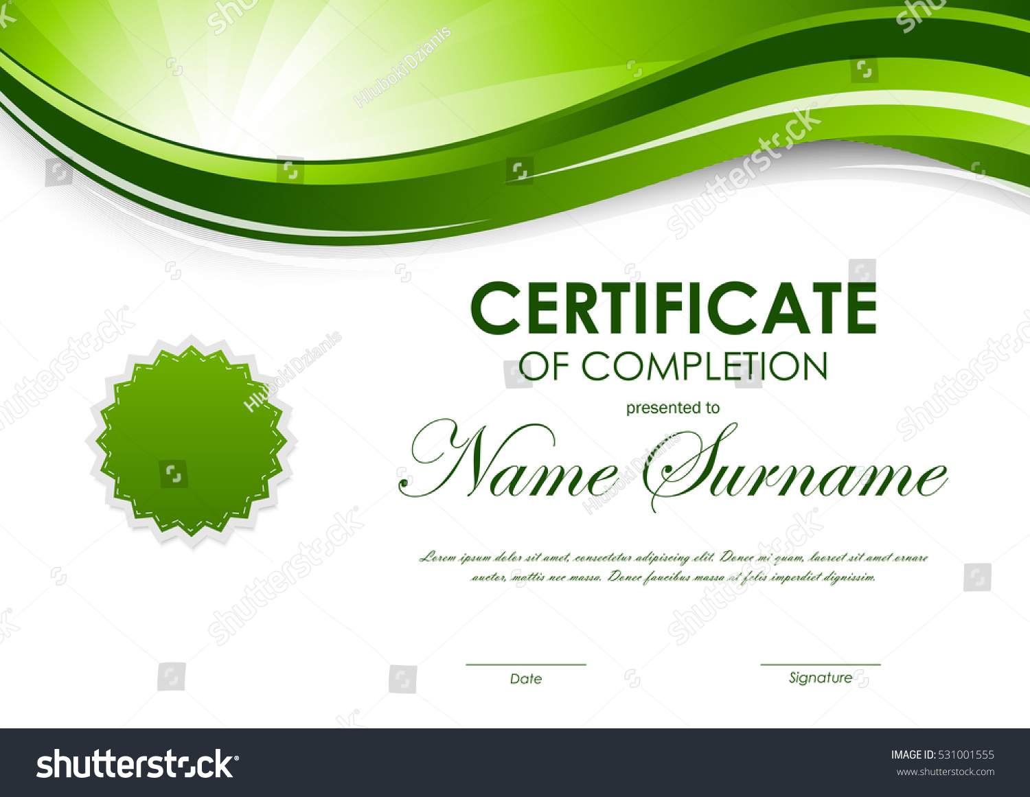 Certificate completion template green dynamic light certificate completion template green dynamic light 531001555 shutterstock yelopaper Gallery