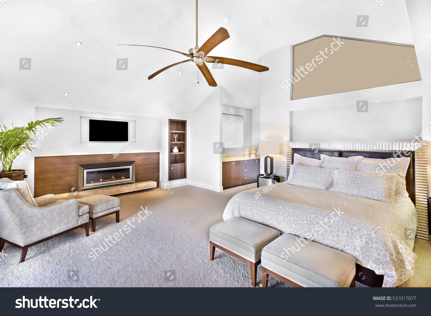 Modern bed area including furniture television stock photo 531017077 shutterstock - Beds attached to the wall ...