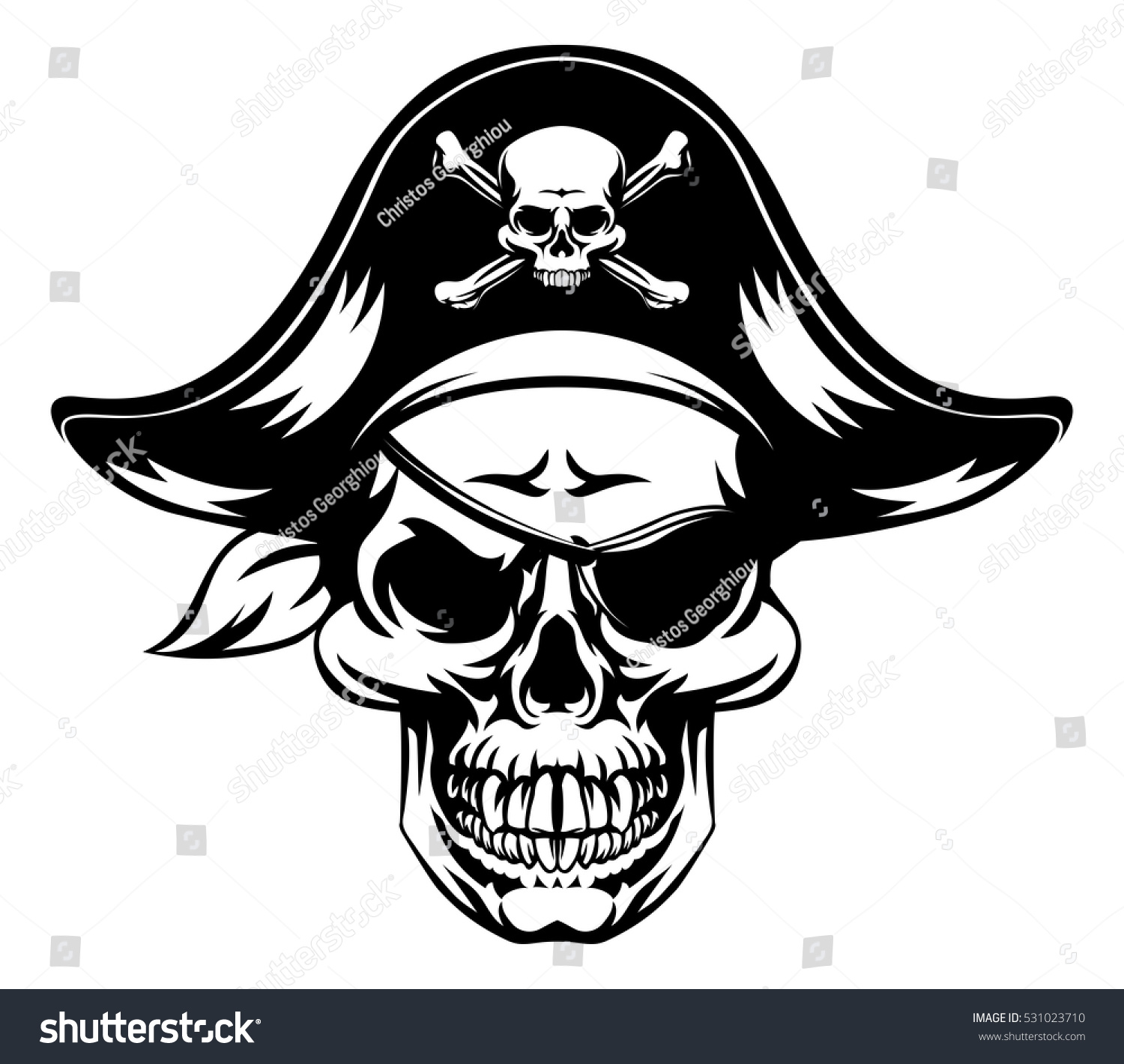 illustration pirate skull wearing pirate captains stock vector