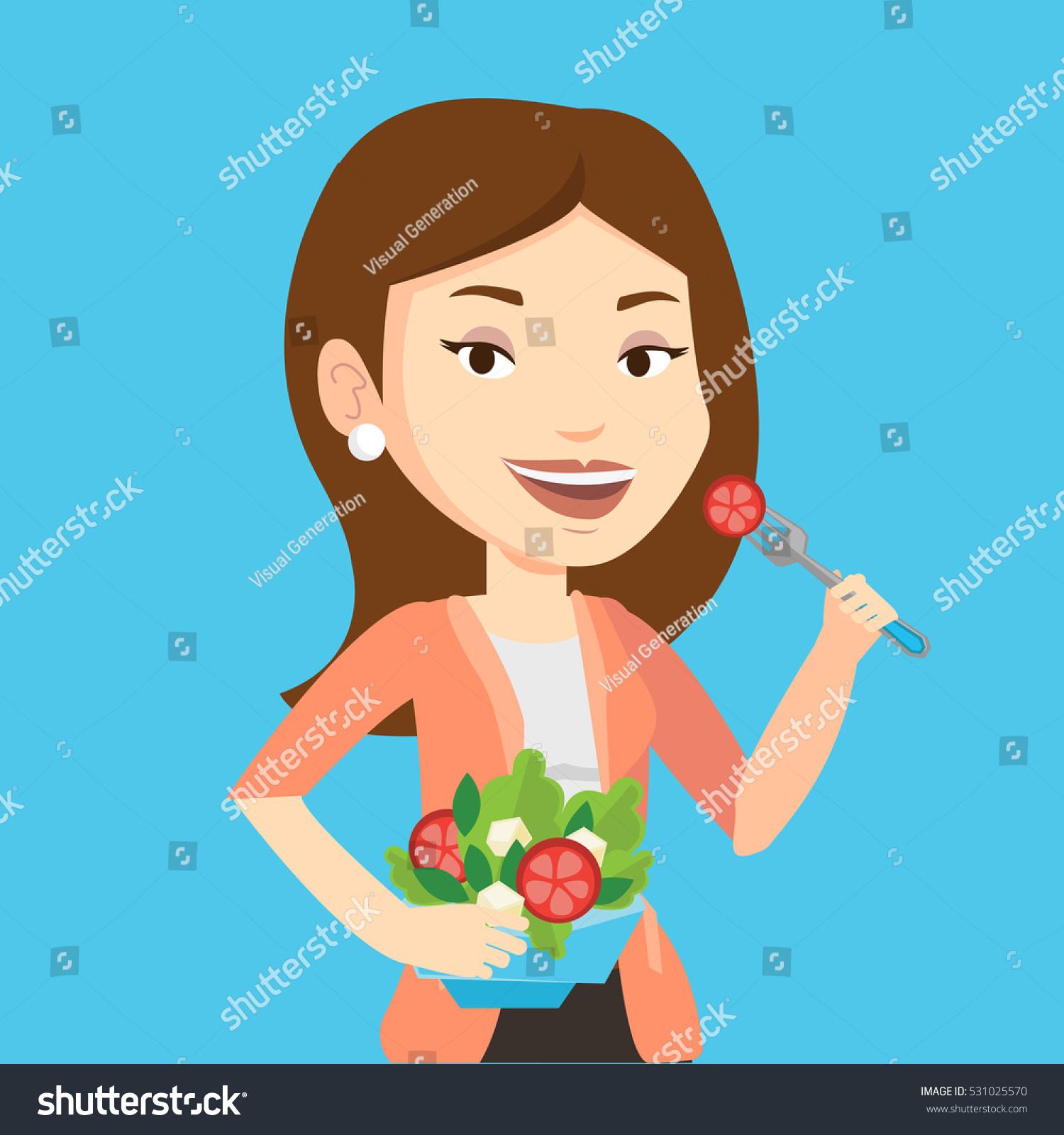 Caucasian Happy Woman Eating Healthy Vegetable Stock Vector ...