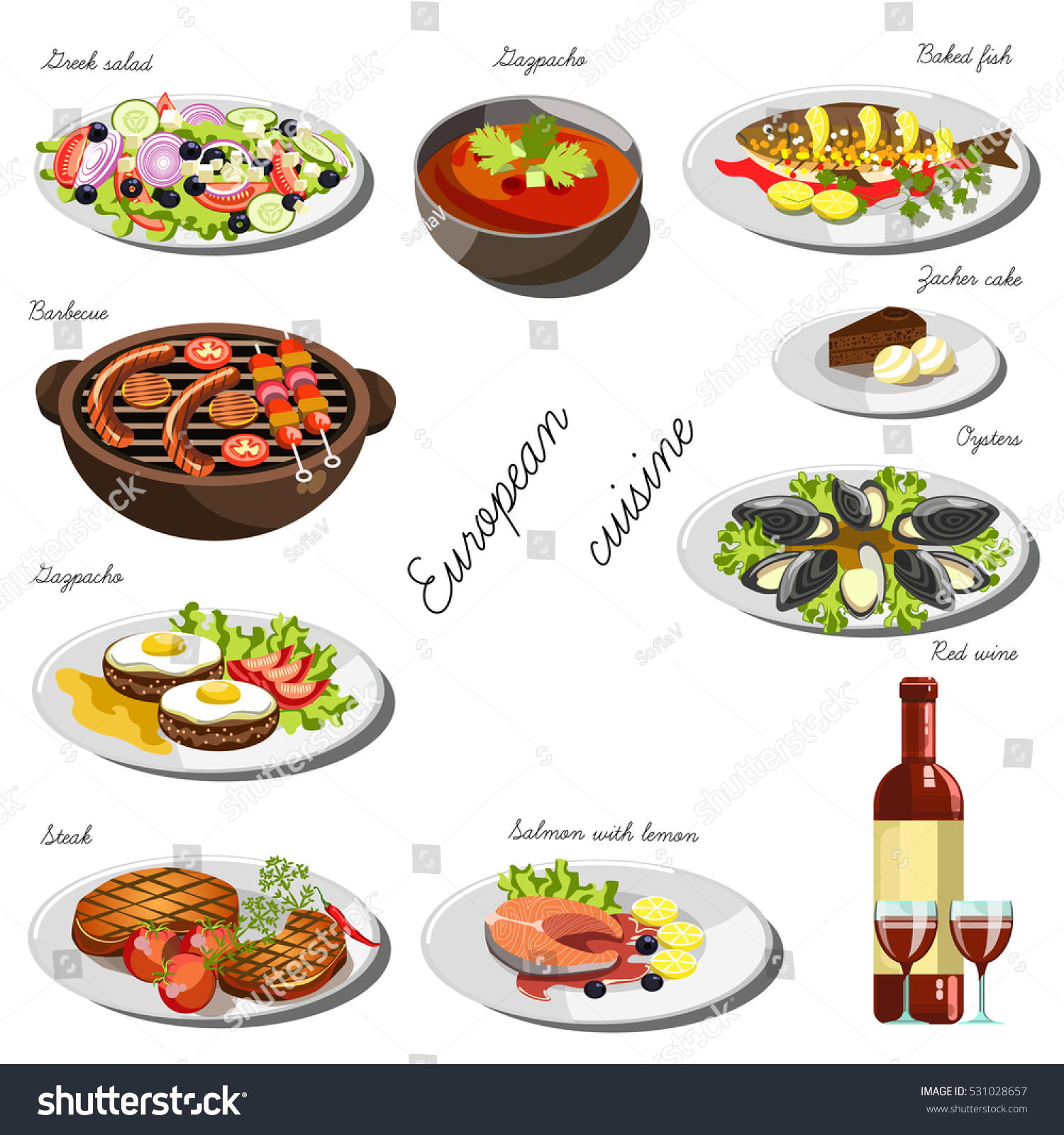 European cuisine set collection food dishes stock vector