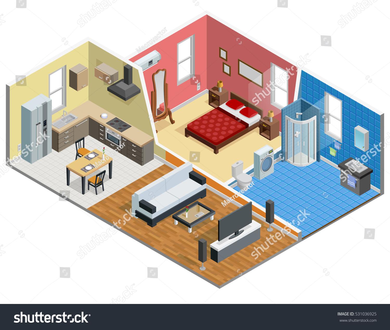 Apartment Isometric Design Bedroom Bathroom Kitchen 531036925 Shutterstock