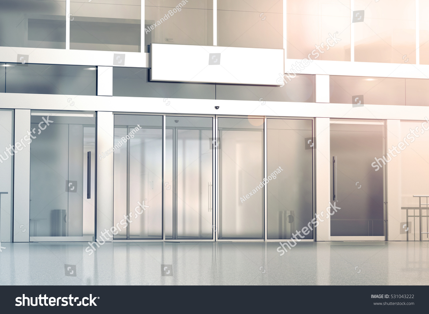Blank White Signage On The Store Glass Doors Entrance Mockup, 3d Rendering.  Commercial Building