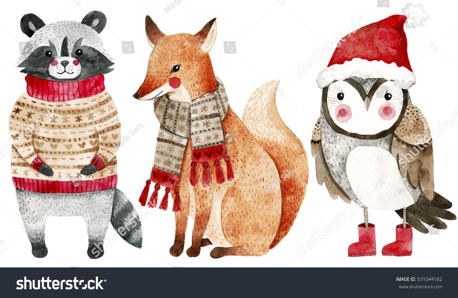 Fox with a hat new year or christmas animal isolated on white - Christmas Watercolor Animals Set Fox Raccoon And Bird Like Owl Cute Kids Illustration