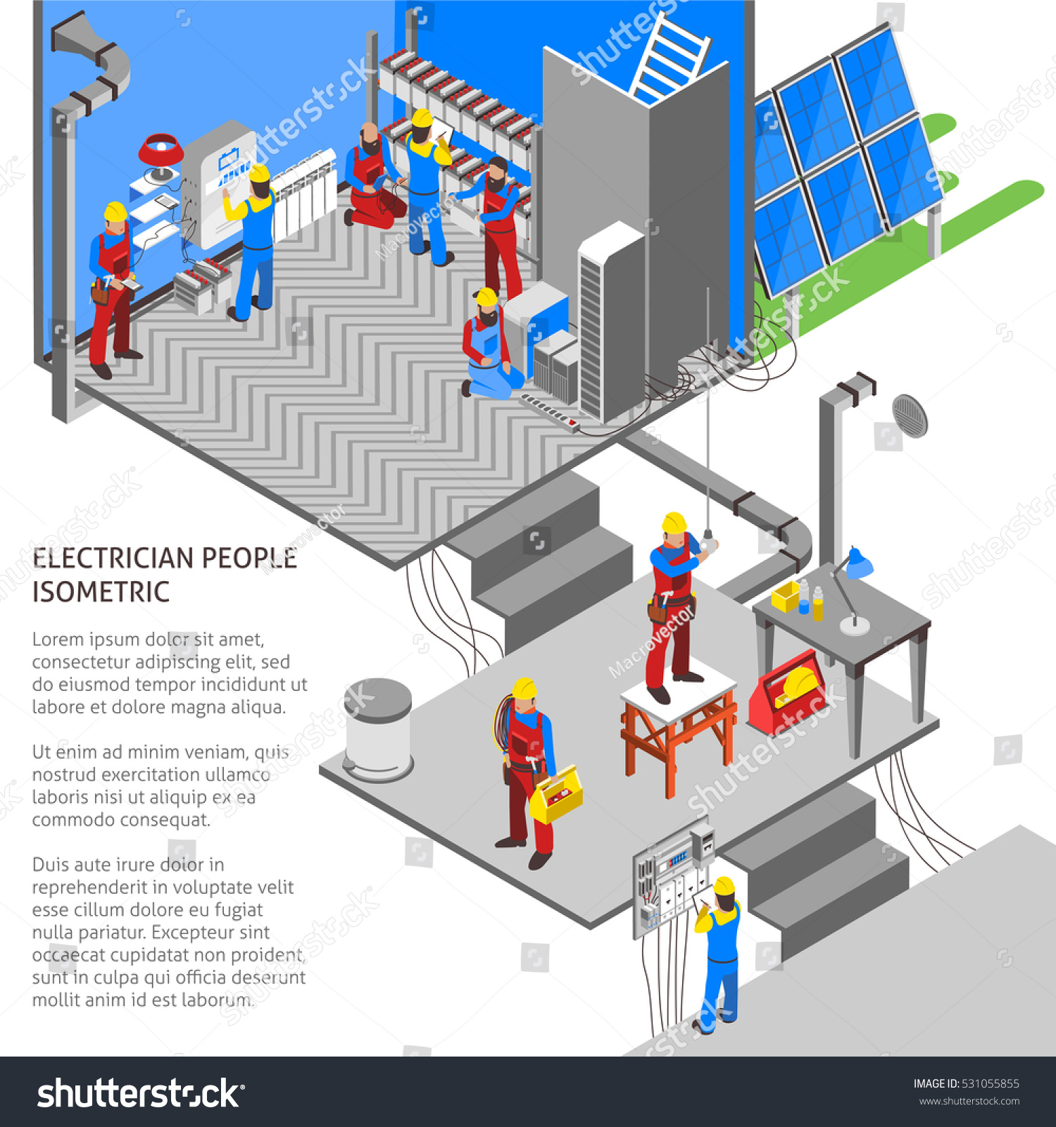 Electrician Isometric Composition Technology Power Symbols Stock ...