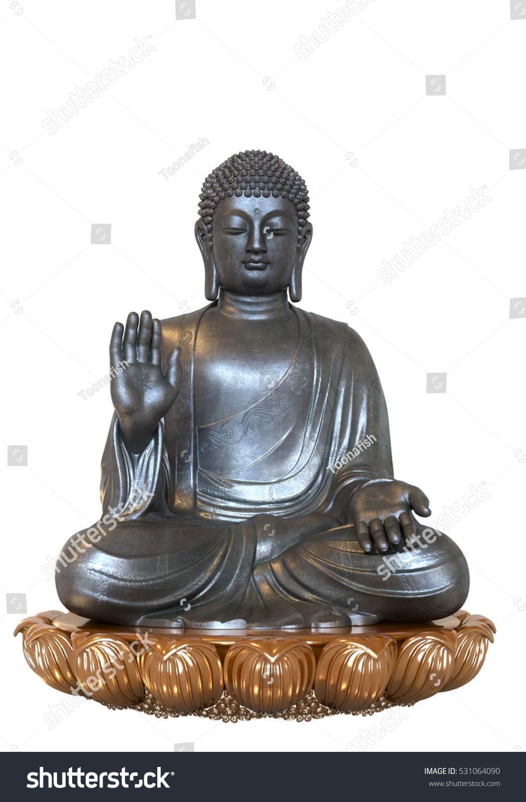 Silver Buddha Sitting Golden Lotus Flower Stock Illustration