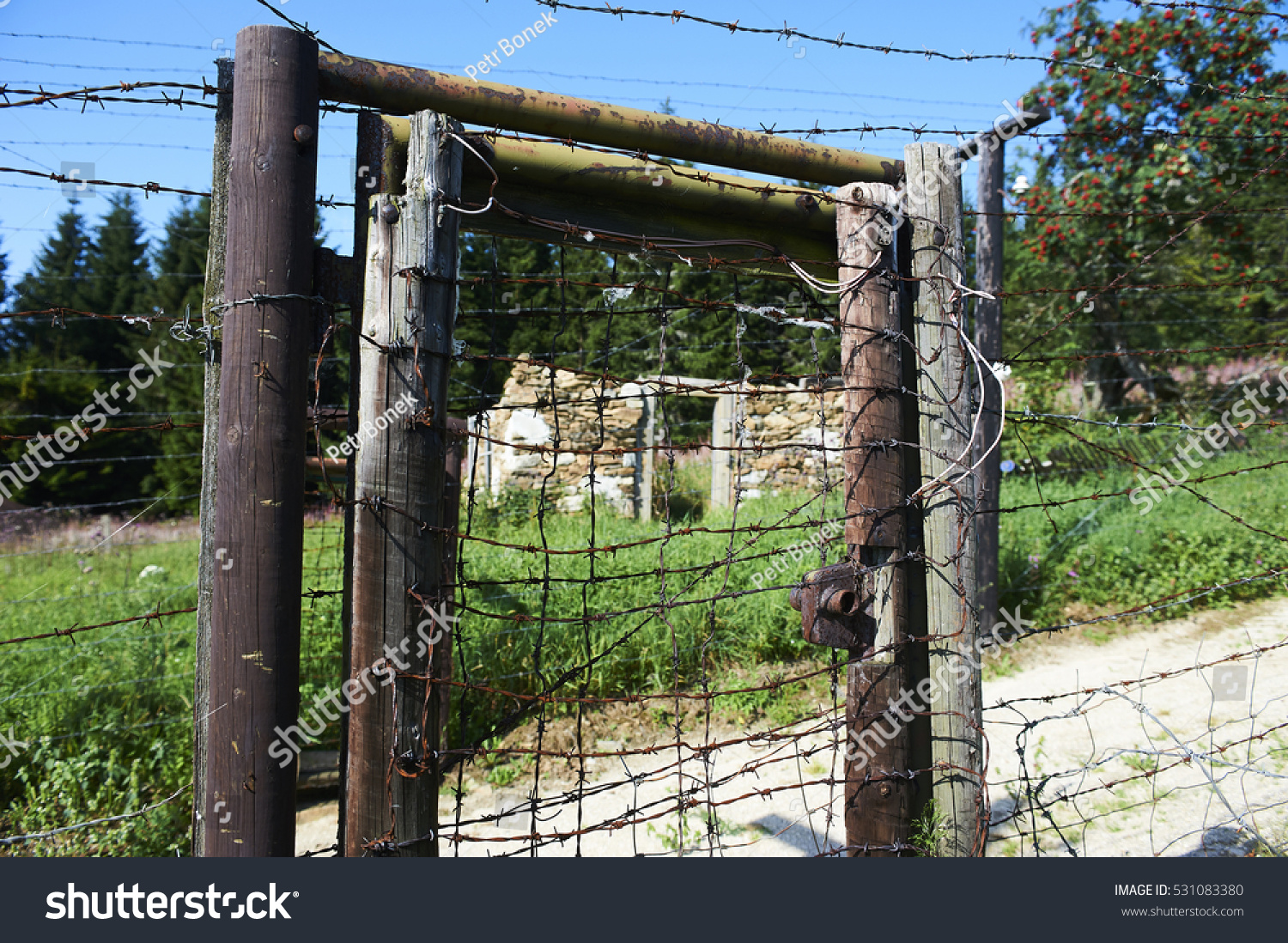 Barbed Wire Remains Iron Curtain On Stock Photo (100% Legal ...
