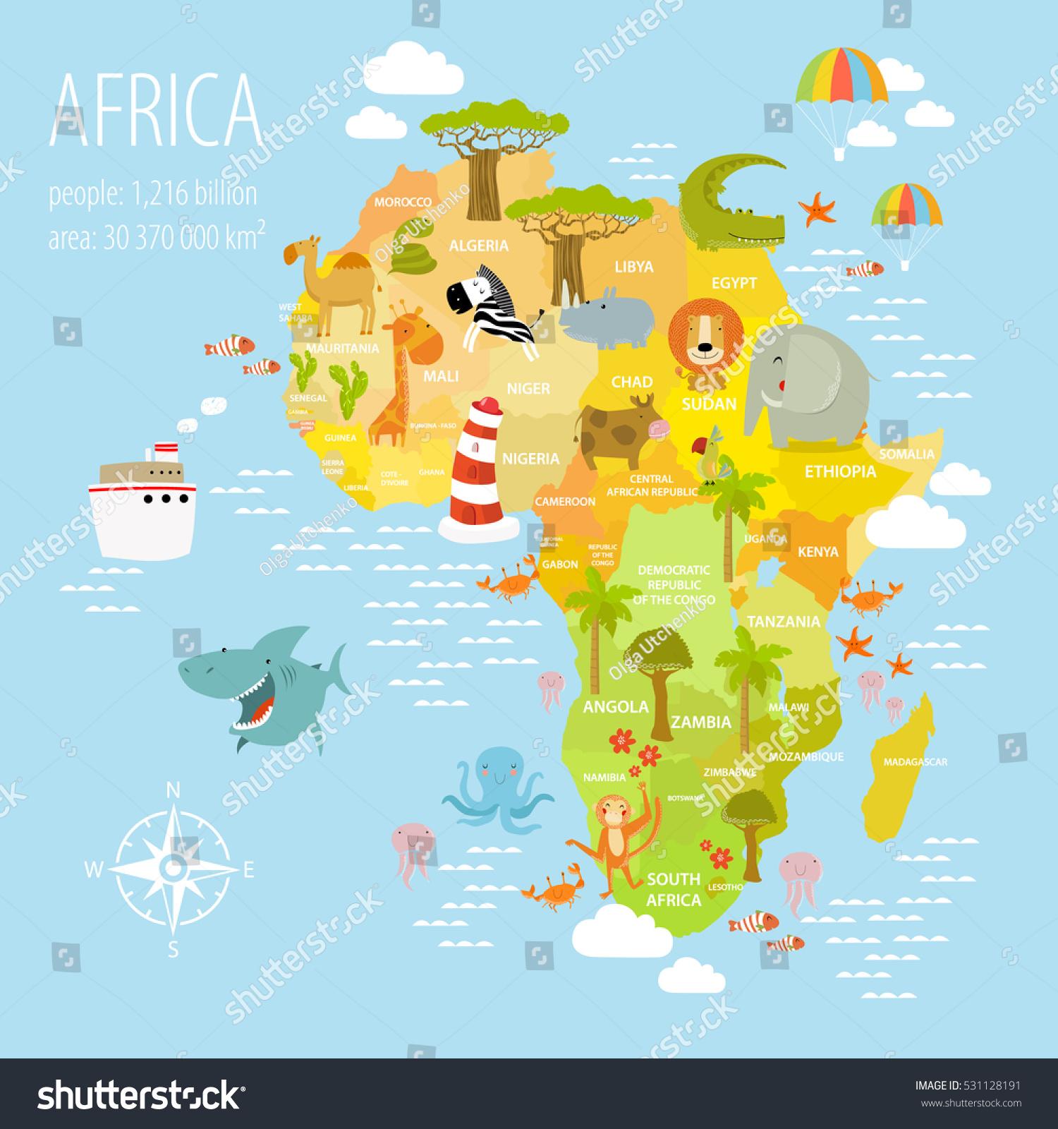 vector illustration map africa on lion のベクター画像素材
