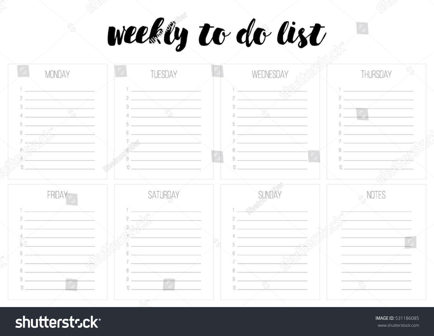 weekly do list vector template blank のベクター画像素材