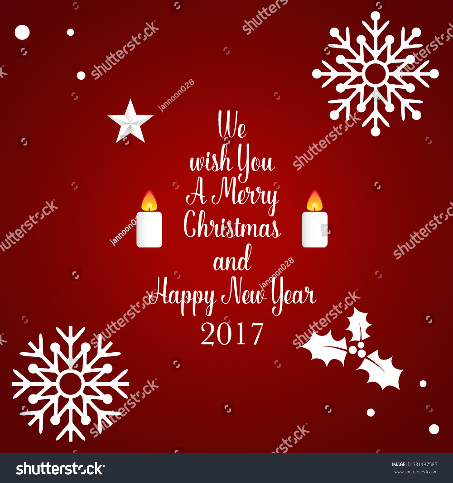 Superbe Merry Christmas And Happy New Year 2017 Greeting Card, Vector Illustration.