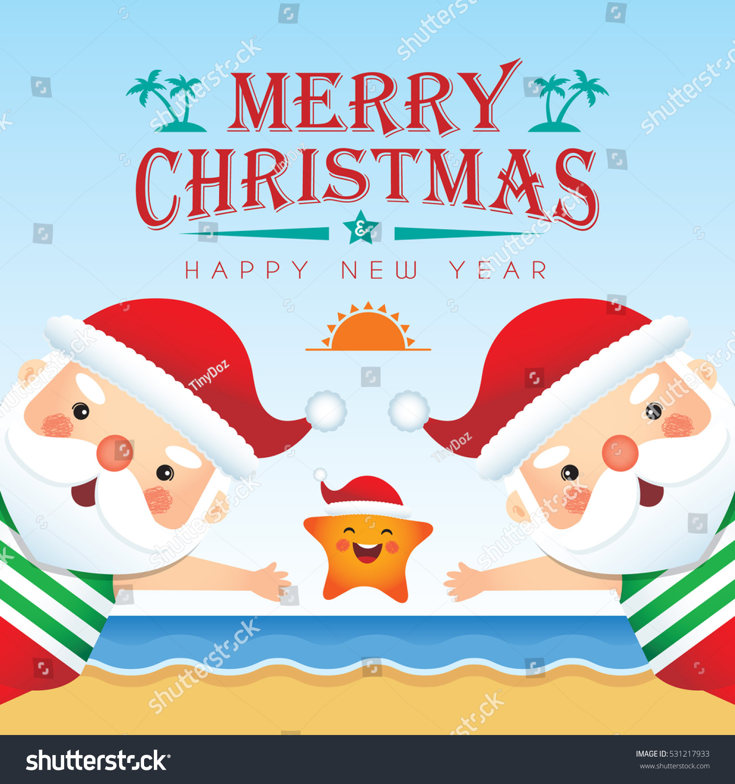 Merry Christmas Greetings Cute Cartoon Santa Stock Vector Royalty