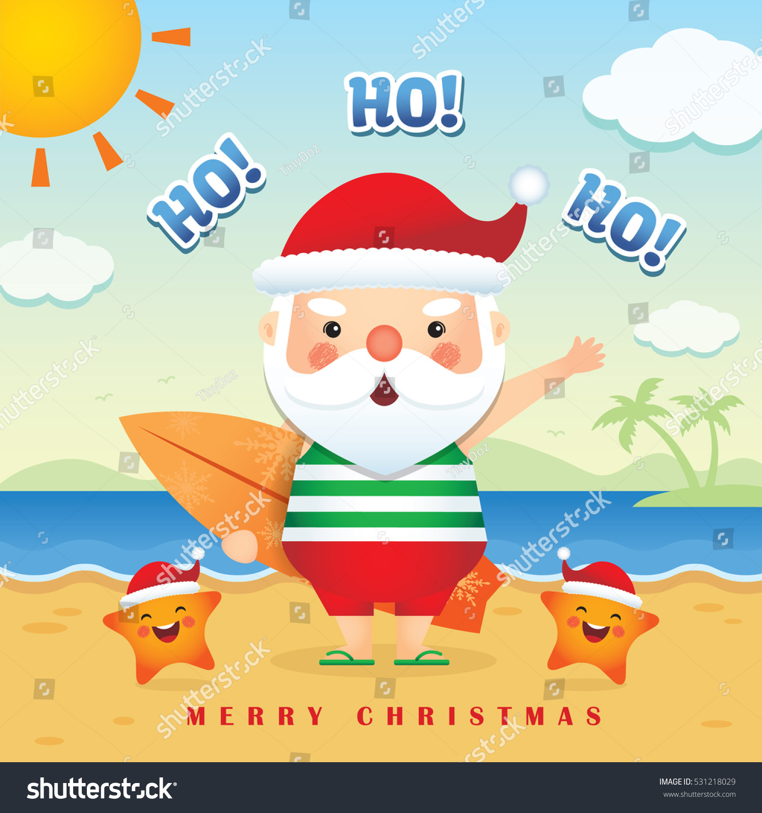 Merry Christmas Greetings Cute Cartoon Santa Stock Vector Royalty
