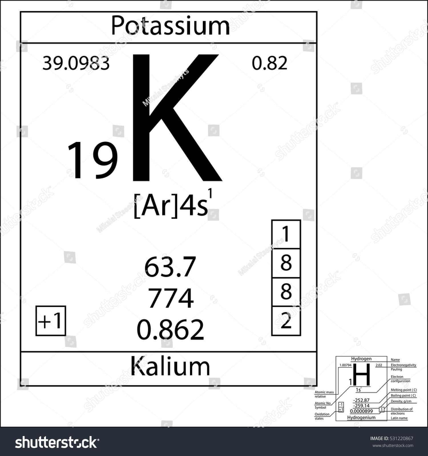 Periodic Table Element Potassium Basic Properties Stock Vector
