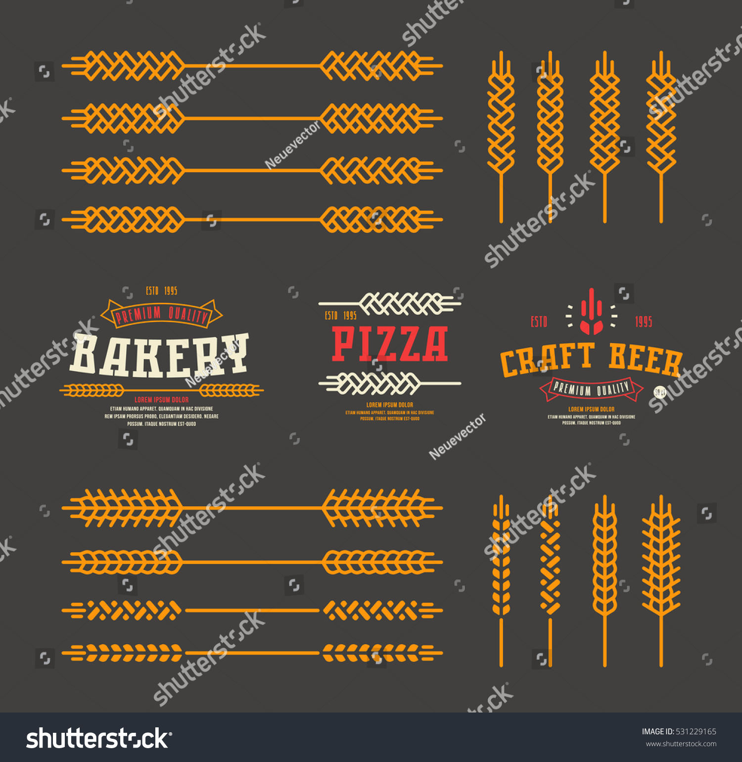 Set Stylized Ear Wheat Template Labels Stock Vector (Royalty Free ...