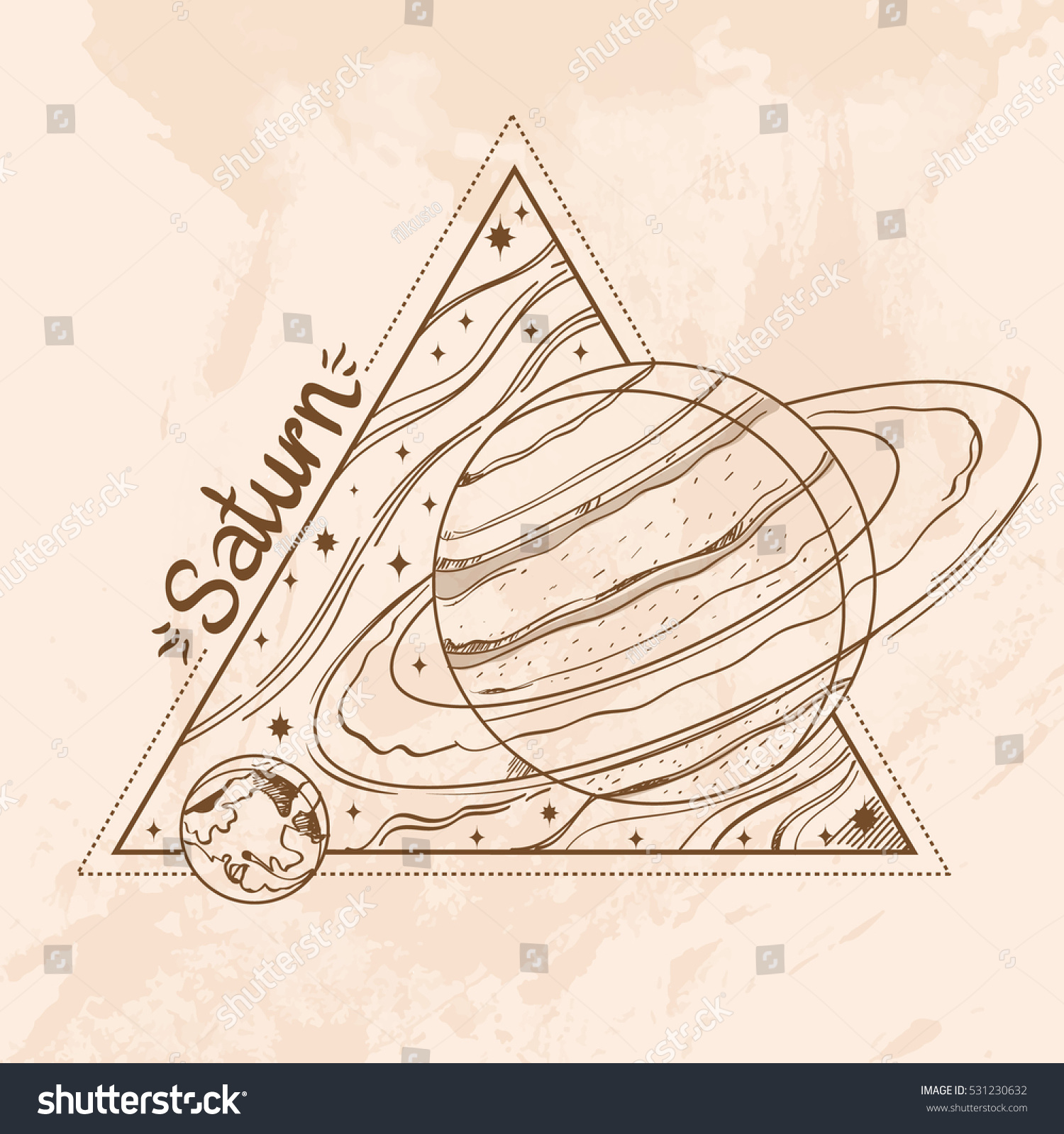 Saturn Planets Stars Solar System Symbols Stock Vector Royalty Free