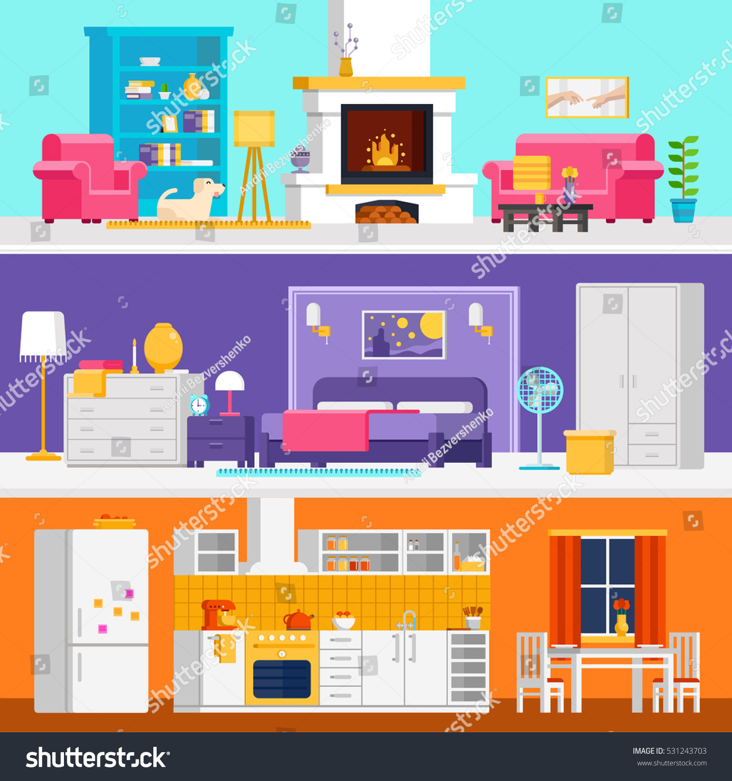 Flat Design Interior Dining Room Vector Illustration Stock: Three Colorful Flat Rooms Vector Illustrations Stock