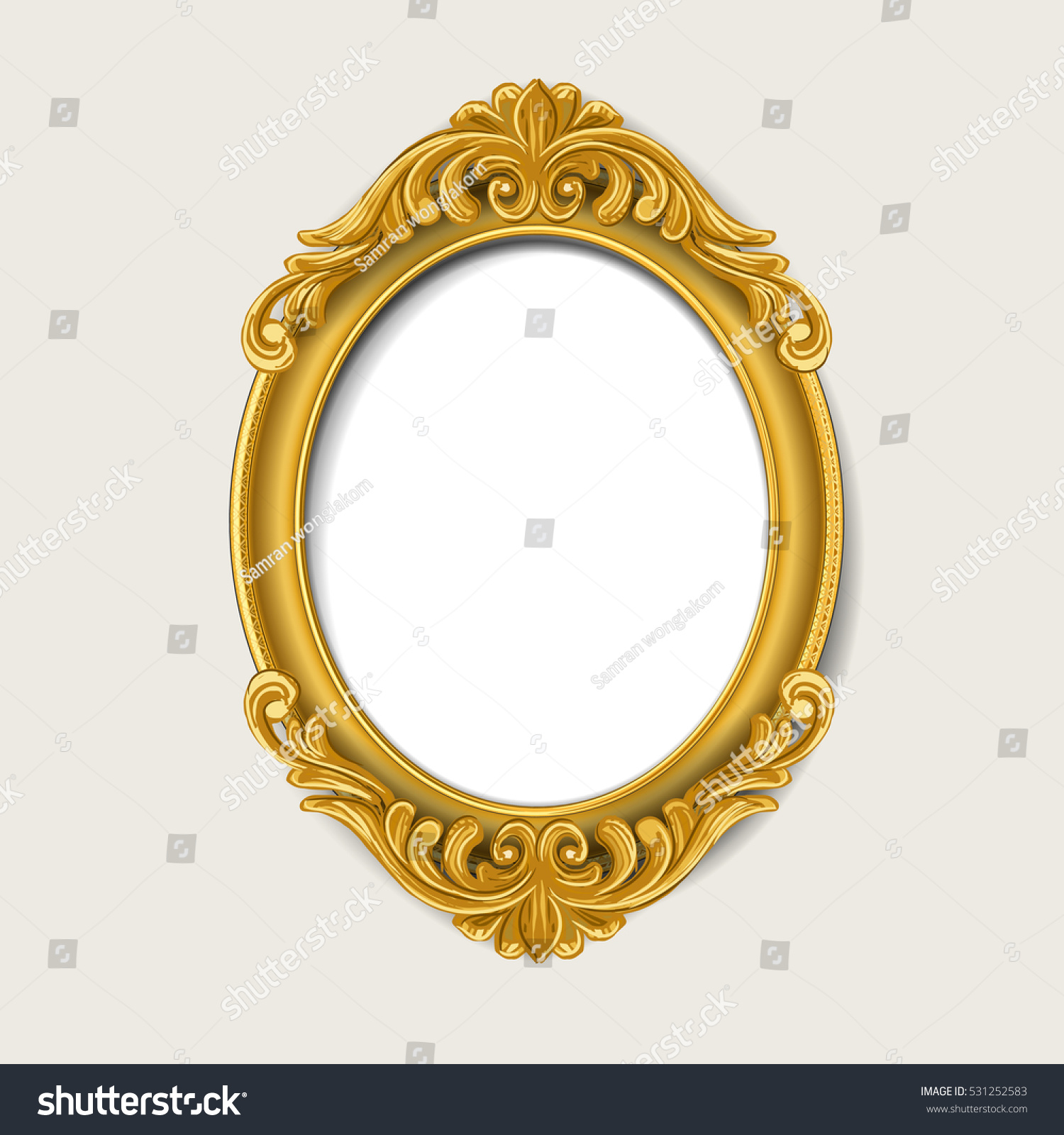 Oval Vintage Gold Picture Frame Stock-Vektorgrafik (Lizenzfrei ...