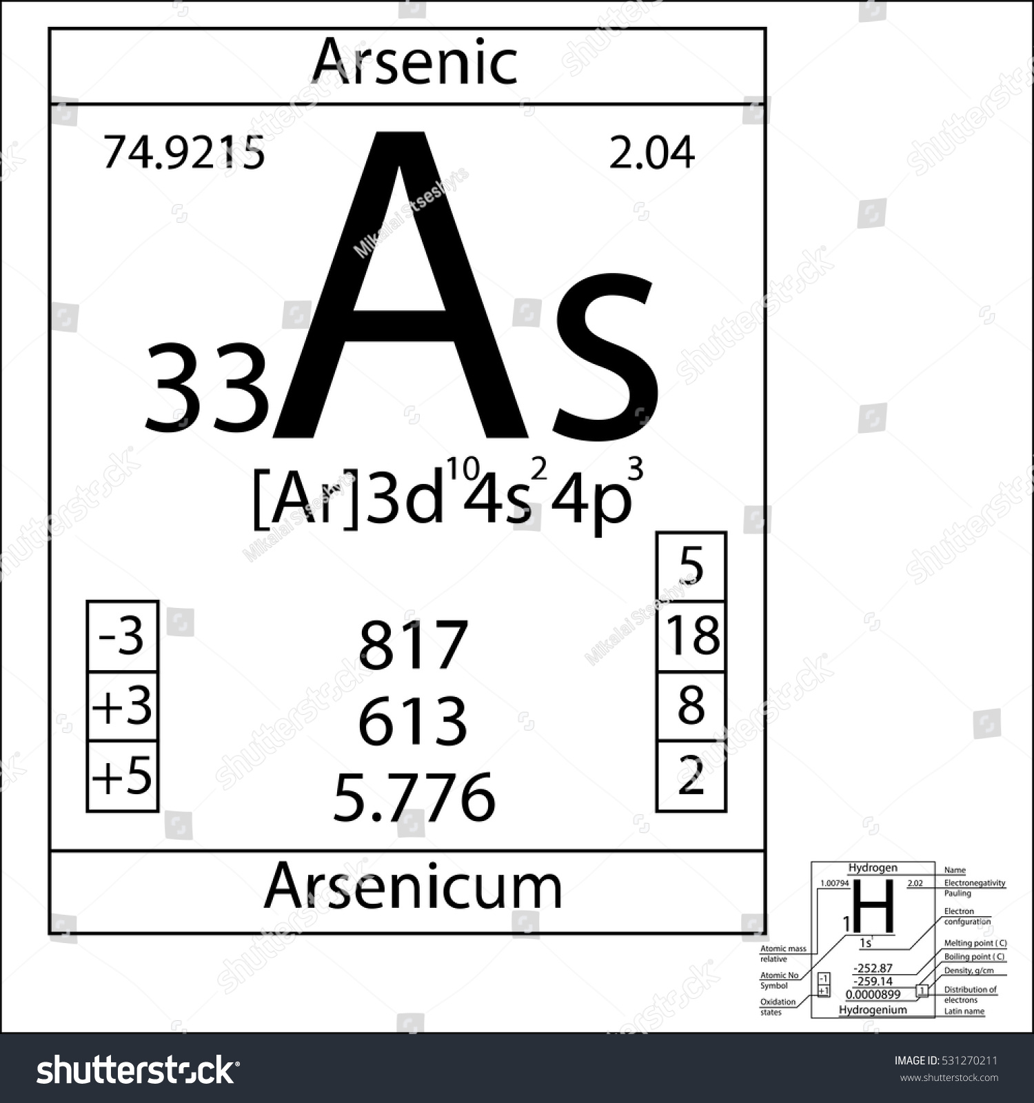 Periodic table element arsenic basic properties stock vector the periodic table element arsenic with the basic properties biocorpaavc Image collections