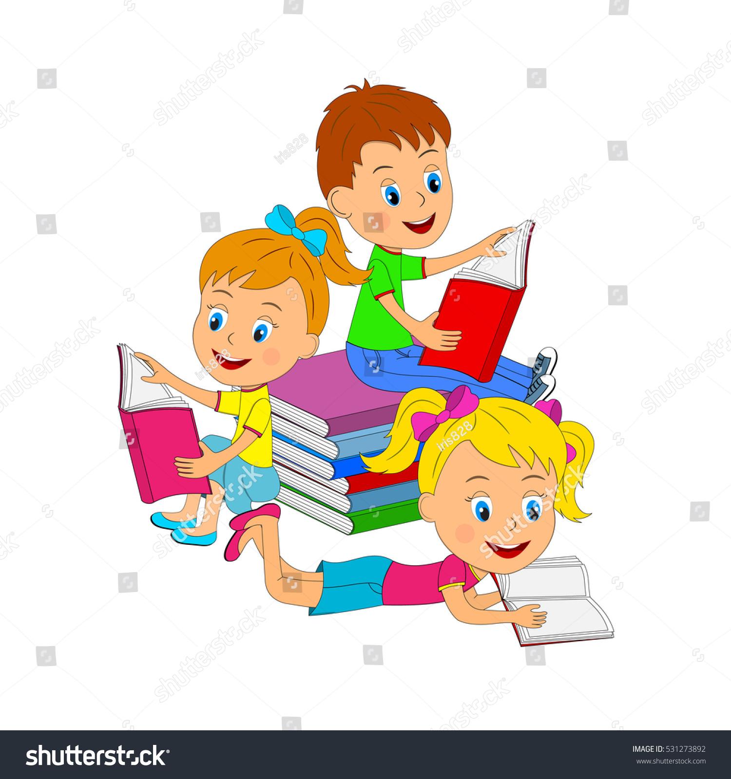 Children Book Cover Vector : Kidsboy girls reading book illustration vector stock