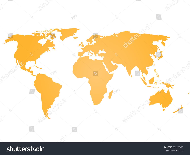 Simple Flat Map World Orange Silhouette Stock Vector - Flat map of world