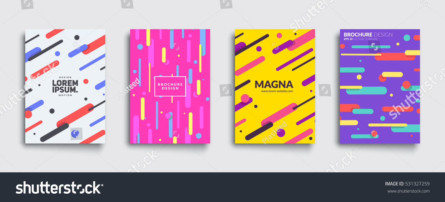 Covers With Flat Geometric Pattern Cool Colorful Backgrounds Applicable For Banners Placards