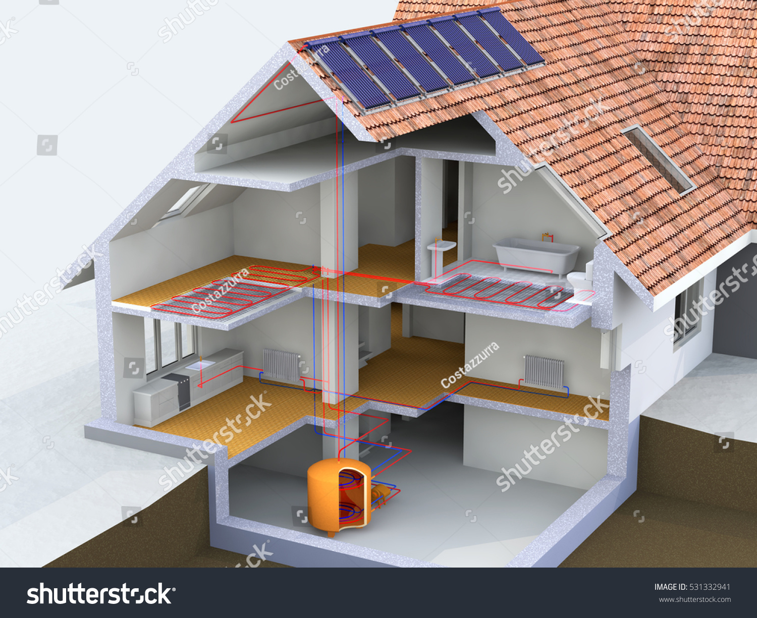 Alternative heated house solar panels heating stock for Heating systems for small homes
