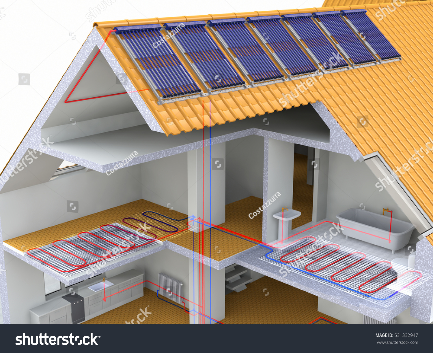 Alternative heated house solar panels heating stock for Heating systems for houses