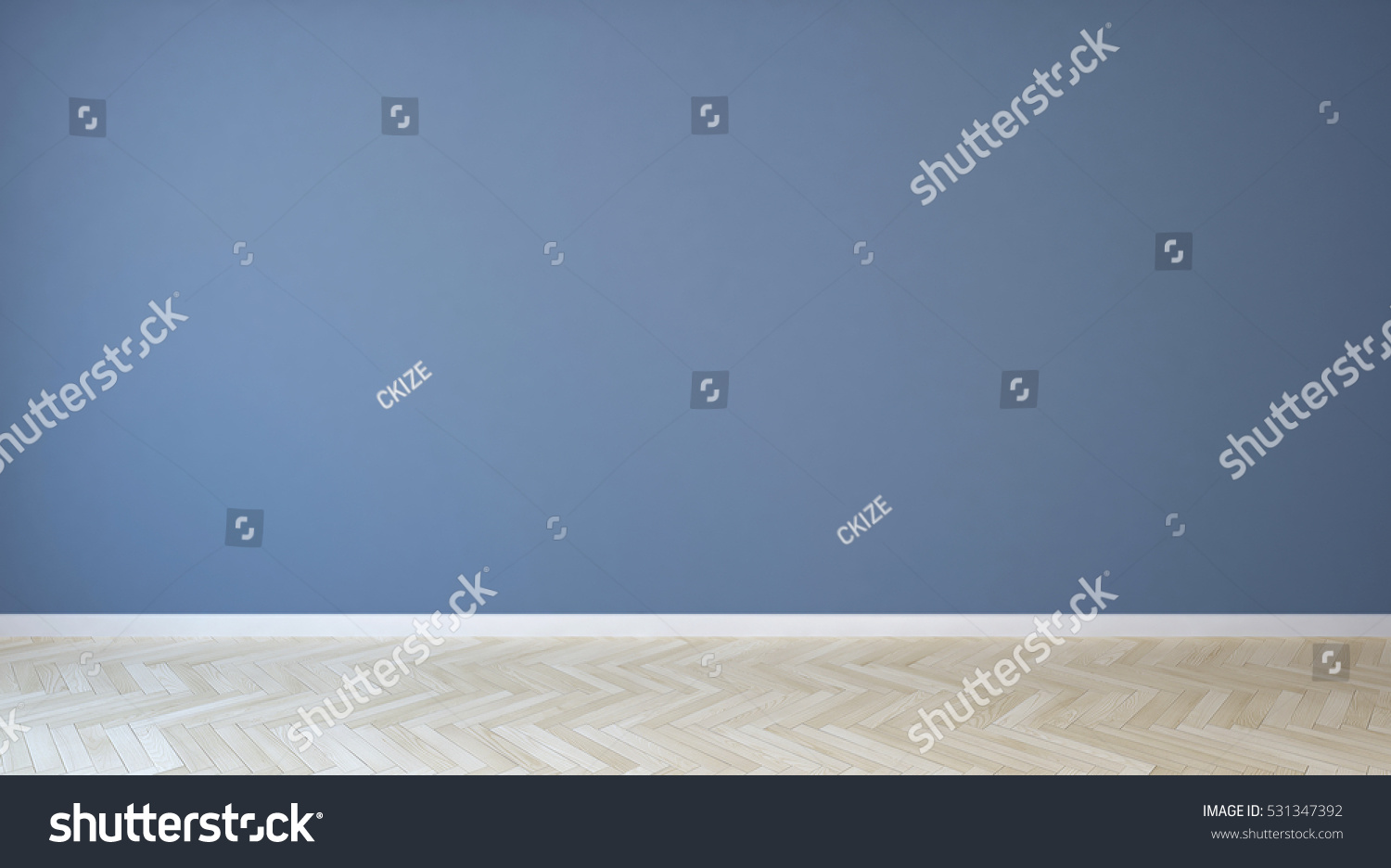 Empty Room Blue Painted Wall Wooden Stock Photo 531347392 - Shutterstock