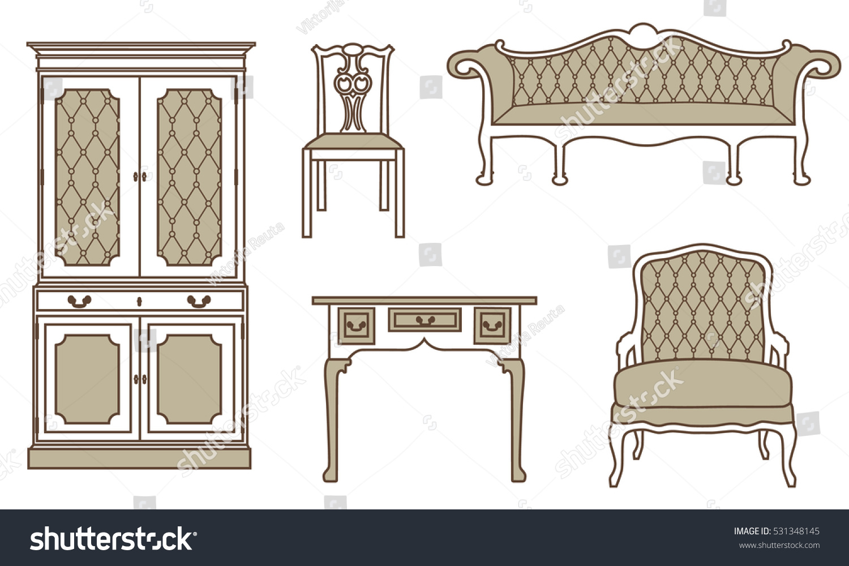 Vector Illustration Set Collection Vintage Furniture Stock